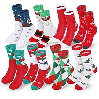 Magicfun Calcetines de Navidad Lindo de algodón Animal de Dibujos Animados Reno de Santa Claus Antideslizante Unisex 8 Pares Calcetines de Navidad Regalos para niño niña