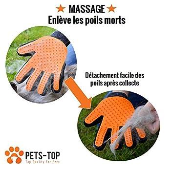 [Haute Qualité] GANT BROSSE One PETS-TOP ANIMAUX COMPAGNIE CHIEN | CHAT | LAPIN | 2 FACES: Silicone + Microfibre Anti Noeuds Boules Poils | Brossage Nettoyage Massage Bain & Ramasse Poils Textile Facile