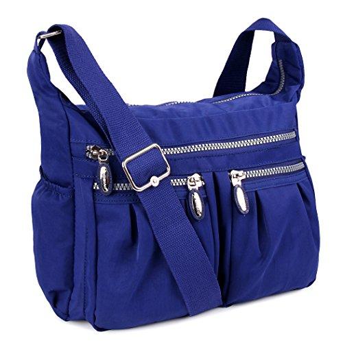 ABLE Wasserdichte Leichte Nylon Crossbody Messenger Shoppertasche Umhängetasche Crossover Bag Leichte Schultertasche (0-Blau) 0-Blau
