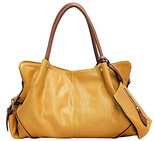 Wealsex Damen handtasche kunstleder schultertaschen groß 3pcs gesetzt Gelb