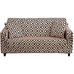 Hotniu Copridivano Elasticizzato, Fodera per Divano con Stampa di Fiori Elastico, Sofa Mobili Protettore Copertura (3 posti, Pattern #DSCB)