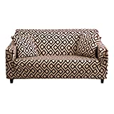 HOTNIU 1-Piece Stretch Sofa Couch Covers - Spandex Printed Fitted Elastic Couch Slipcovers - Patterned Seat Furniture Protector with Elastic Bottom and Straps (Sofa, Pattern #DSCB)