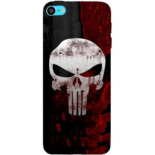 Casotec Punisher Skull Design Hard Back Case Cover for Apple iPod Touch 6th Generation