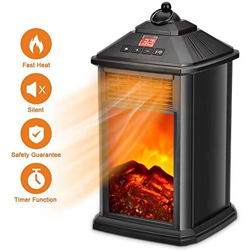 Dirkfigge camino elettrico portatile con telecomando, riscaldamento autonomo, stufa a infrarossi a fiamma realistica a led, timer intelligente, protezione da surriscaldamento