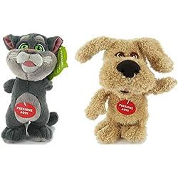 Talking Tom and Friends - Pack incluye 2 peluches: Tom el gato 21cm y Ben el perro 21cm habladores - Con sonido - Calidad super soft