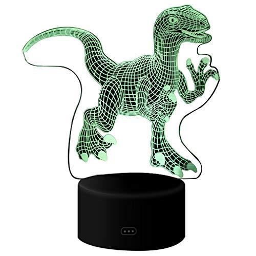 AidShunN Lámparas de Forma de Dinosaurio Iluminación de la Mesa de luz Nocturna Nocturna con ilusión óptica para niños Adultos