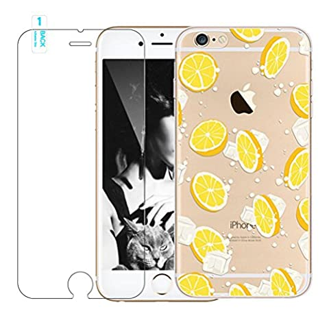 Cute iPhone 7 Case with Free Tempered Glass Screen Protector,Bestsky Lovely Girl Fruit Animal Flower Fantasy Pattern Crystal Clear Soft Silicone TPU Bumper Case Protective Cover for iPhone 7 4.7 inches - Lemon