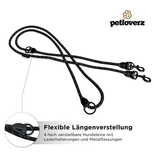 4-fach verstellbare Hundeleine | 2,80m lang | Doppelleine / Laufleine / Langlaufleine | geflochten | schwarz | Nylon | Leder-verstärkte Nähte | eingenähte Reflektoren | PETLOVERZ - 2