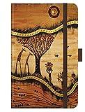 Premium Notes Small 'AfricanArt - Landschaft': A6 Notizbuch liniert mit hochwertiger Folienveredelung, Stiftehalter, Zetteltasche und Leseband