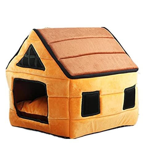 Deer Leather Kennel Detachable Yurts Chocolate House All Water Washable Pet Nest Soft and Comfortable (Gomma Da Masticare Rosa Pelle)