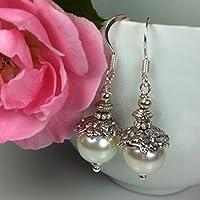 Perlenohrringe weiß im Jugendstil 925 Silber Ohrhaken, Geschenk
