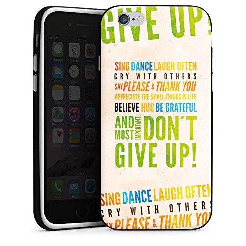 Apple iPhone X Silikon Hülle Case Schutzhülle Sprüche Statement Don't give up Silikon Case schwarz / weiß