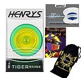 Henrys TIGER SNAKE YoYo (Vert/Jaune) Looping Trick (2A) Professionnelle Roulement Yo Yo + livre d'instruction de trucs + 75 Yo-Yo Tricks DVD (en anglais) + sac de voyage! Pro Yo-Yo pour les enfants et les adultes!