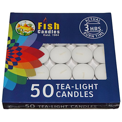 Nanki Trades Wax Tea Light Candle (White, Set of 50, 3 Hours...