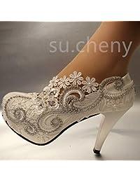 JINGXINSTORE Tacón de 8 cm/3 encajes de Cristal Blanco zapatos de boda novia tamaño bombas 5-12,blanca,US 9