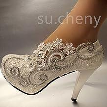 912335949 JINGXINSTORE Tacón de 8 cm 3 encajes de Cristal Blanco zapatos de boda novia  tamaño