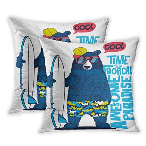 Nekkzi Cushion Covers Set of Two Print Surf Cute Surfer Bear Cool Funny Boy Kid Beach Sofa Home Decorative Throw Pillow Cover 16x16 Inch Pillowcase Hidden Zipper
