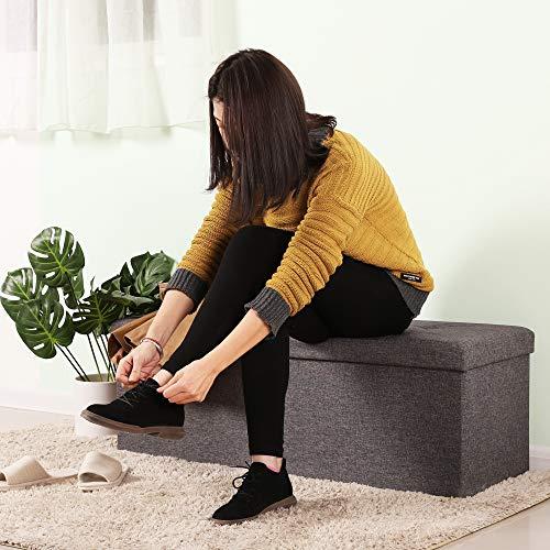 Songmics Sitztruhe 3-Sitzer Leinen, dunkelgrau, 110x38x38cm - 3