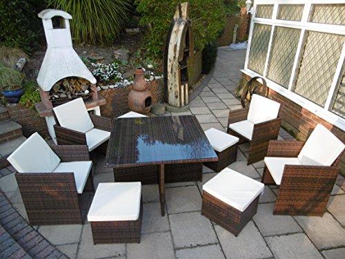PE Rattan Gartenmöbel Cube Set Esstisch Stuhl Fußschemel 9 Stück 4 Stühle 4 Hocker (Braun)
