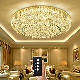 Junhong Lighting LED 3 Helligkeit Kristall Lampe Modern S-Golden Runde LED Deckenleuchte Schlafzimmer Lampe Restaurant Licht Luxus Atmosphäre Wohnzimmer Lampe Mit Fernbedienung (D120cm x H35cm)