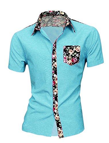 Allegra k uomo maniche corte stampe floreali maglietta - sintetico, azzurro cielo, 100% cotone 65% poliestere 35% cotone; 35% cotone\ n, uomo, m 50 eu