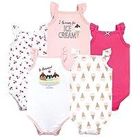 Hudson Baby Unisex Baby Cotton Sleeveless Bodysuits, Banana Split, 0-3 Months