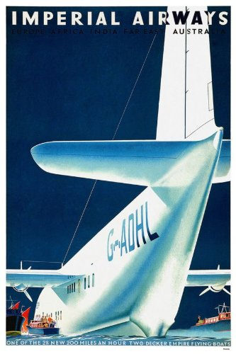 Vintage Travel Poster Imperial Airways CTP024 Matt A4 Size - Imperial Schlafzimmer