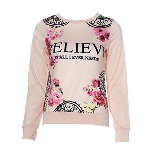 Women Sweatshirt , Floral Print Hoodies Long Sleeve Loose Blouse Rose