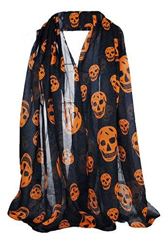 La vogue Damen Muffler Chiffon Schal Halloween Skelett (Halloween Schal)