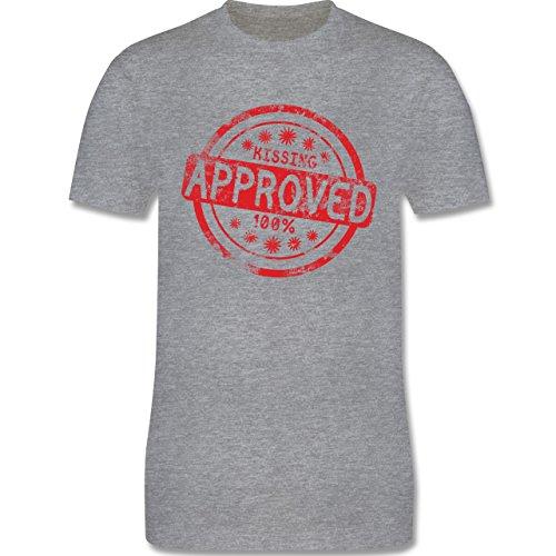 lustige Sprüche - Kissing approved - L190 Herren Premium Rundhals T-Shirt Grau Meliert