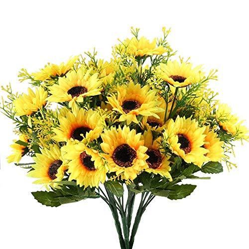 Mslora 4 Pcs Künstliche Blumen Sonnenblumen Bündel gefälschte Blumen Frühling Dekor für Hochzeit Wohnung Büro Party