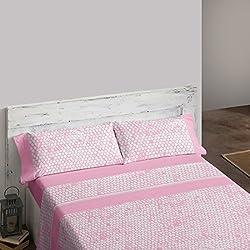 Burrito Blanco Juego de sábanas 454 Rosa de cama de 90x190/200 cm