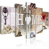 decomonkey Bilder Home 200x100 cm 5 Teilig Leinwandbilder Bild auf Leinwand Vlies Wandbild Kunstdruck Wanddeko Wand Wohnzimmer Wanddekoration Deko Haus Blumen Holz