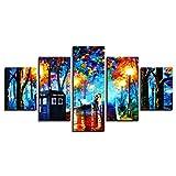 ZSDGY Peinture Décorative De Mosaïque à Jet d'encre, Lampe De Rue Abstraite De Cabine Téléphonique Peinture à l'huile De Piéton Peinture Murale (sans Cadre),10x15cmx2+10x20cmx2+10x25cmx1