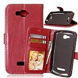 Qiaogle Téléphone Coque - PU Cuir Rabat Wallet Housse Case pour Alcatel One Touch Pop C7 (5 Pouce) - DK05 / Brun Classique Mode Affaires Style