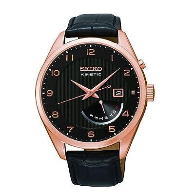 Seiko SRN054P1 - Reloj para hombres, correa de cuero color negro