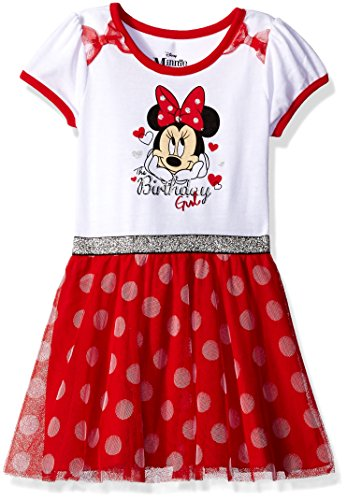 Disney Little Girls' Minnie Mouse Birthday Dress, White, (Dress Minnie Up Mouse)