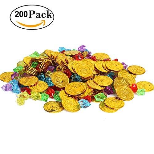 Cusfull 100 Pezzi Monete Giocattolo d'Oro del Pirati + 100 Pezzi Diamanti Giocattoli di Acrilici Tesoro Decorazioni per Gioco del Pirata Festa Compleanno di Bambini