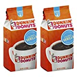 Dunkin' Donuts French Vanilla Flavour Ground Coffee - (2-Pack) - American Imported Vanilla Flavor Roasted Coffee, 340 Grams (12 Oz.)