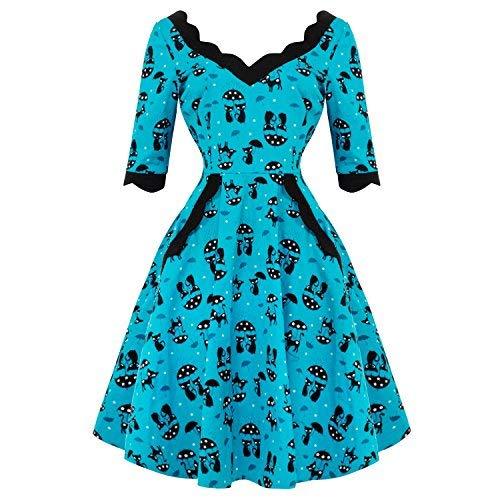 Voodoo Vixen Katnis Katze Blau Rockabilly 1950s Jahre Retro Vintage Ausgestelltes Partykleid - Blau und Schwarz, 8 S