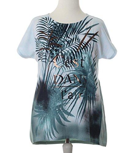 a6ff03334676ec No Secret T-Shirt Damen Palmen für Mollige mit großen Größen kurzarm  Übergrößen Grün ...