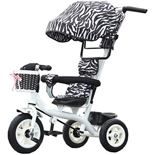 Qiangzi Nouveau modèle Tricycle bébé 3 roues Enfant à l'intérieur de l'extérieur Petit vélo Tricycle Bicyclette Vélo pour fille de 6 mois à 6 ans Bébé Trois roues Trolley Awning, Rubber Wheel (Black, White) Meilleur cadeau pour les enfants