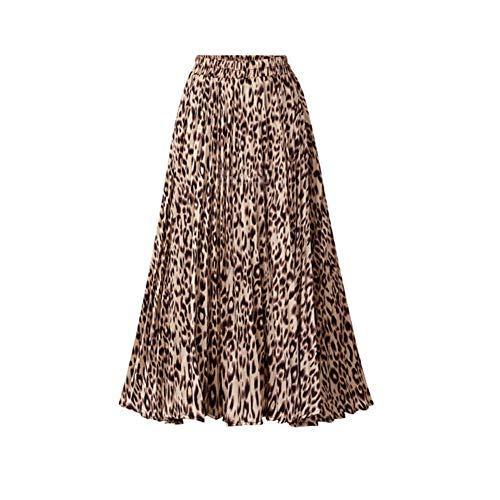 Ocamo - Falda Plisada con Estampado de Leopardo para Mujer, Amarillo, X-Large