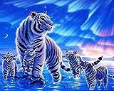 DIY Vorgedruckt Leinwand-Ölgemälde Geschenk für Erwachsene Kinder Malen Nach Zahlen Kits Home Haus Dekor - Eis-Tiger 40*50 cm