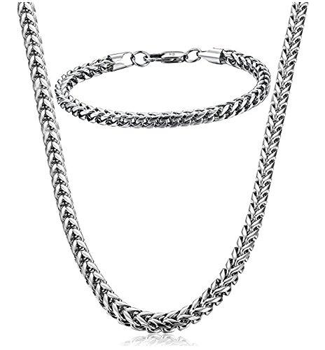 Eyesworld Edelstahl Weizenkette Halskette für Männer Frauen Halskette Armband Schmuck Set 5mm in Breite, 24
