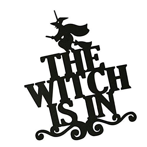 P Prettyia Lustige Vliesstoff Schild Hängebrett Hexe Hängende Dekoration für Halloween, mit The Witch is in Zeichen und Hexe Dekoration für Wand Tür Baum und Garten