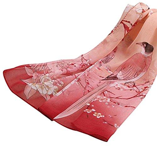 Transer ® Femelle Écharpes,Mousseline de soie douce Neck Scarf Shawl Écharpes Etole Wraps Coloré Doux Rose
