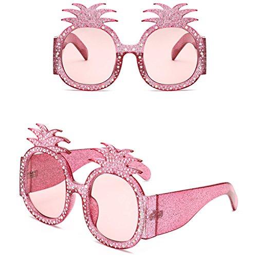 ECMQS Ananas Oversize Damen Oval Sonnenbrillen Rinestone Decor UV400 Party Brillen