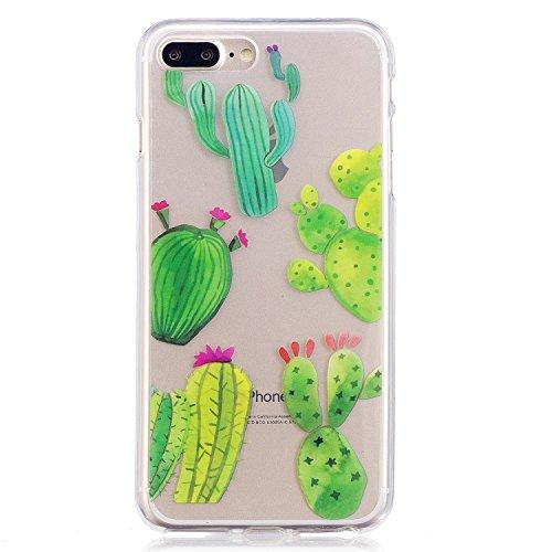 iphone 7 Plus Hülle,iphone 7 Plus Case, iphone 7 Plus Schutzhülle Case Silikon, Cozy Hut Liquid Crystal Schock Absorption Ultra Dünn Crystal Clear Transparent Handyhülle Cover Soft Premium-TPU Durchsi Kaktus