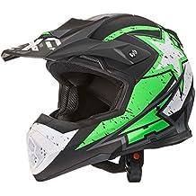 AXO Casco de Motocross Tribe, color Verde/Negro/Blanco, talla XL
